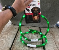Led halsband hond groen